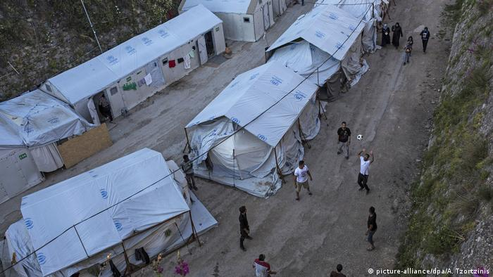 A refugee camp on the Greek island of Chios