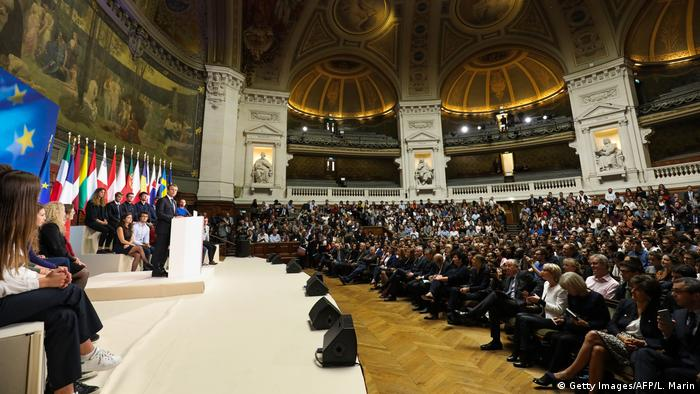 Emmanuel Macron speaks to a hall full of students at the Sorbonne university in Paris (Getty Images/AFP/L. Marin)