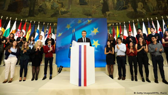 Emmanuel Macron at the Sorbonne, presenting his European Initiative in Paris (Getty Images/AFP/L. Marin)