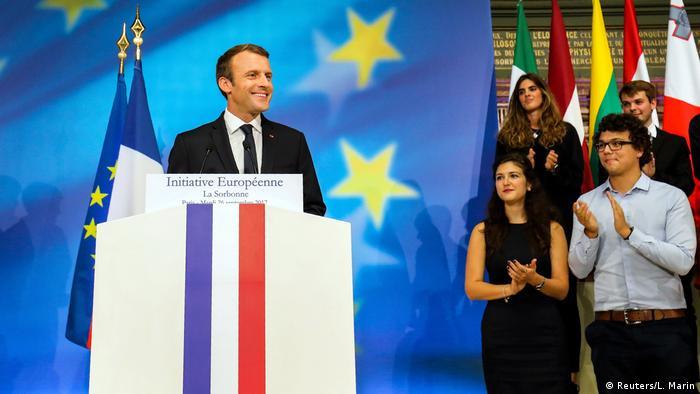 Эмманюэль Макрон во время выступления в Сорбонне, 26 сентября
