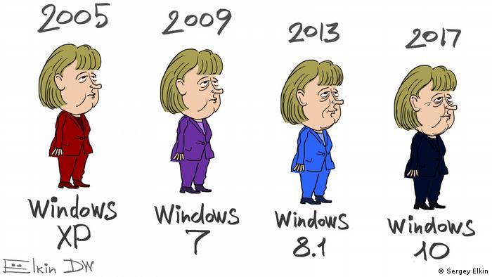 Карикатура - 2005, 2009, 2013, 2017. Под ними Ангела Меркель в разных костюмах и названия актуальных в эти годы операционных систем Windows.
