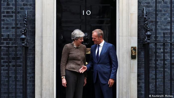 Theresa May and Donald Tusk at Downing Street (Reuters/H. McKay)