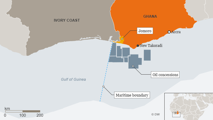 A map showing Ghana's oil fields and the sea border with Ivory coast