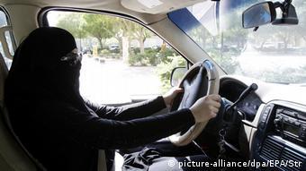 Saudi Arabian woman drives in Riyadh