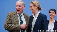 25.09.2017 Frauke Petry (R), chairwoman of the anti-immigration party Alternative fuer Deutschland (AfD) poses next top candidates Alice Weidel and Alexander Gauland (L) before a news conference in Berlin, Germany, September 25, 2017. REUTERS/Wolfgang Rattay
