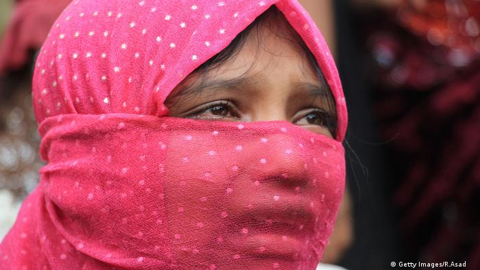 Pregnant Rohingya woman Ayesha Begum at Kutupalong refugee camp in Ukhiya near the Bangladesh-Myanmar border on August 28