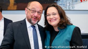 Martin Schulz and Andrea Nahles smiling