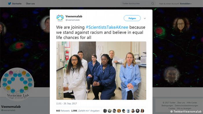 Twitter Screenshot Veenemalab #ScientistsTakeAKnee (Twitter/Veenemalab)