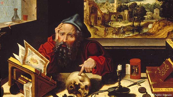 Der bärtige Kirchenvater Hieronymus in seiner Studierstube (Public Domain)