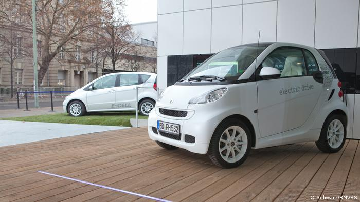 Photo: Electric cars charging outside the energy efficient house (Source: Schwarz/BMVBS)