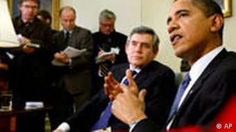 Barack Obama meets Gordon Brown in the Oval Office of the White House in March 2009