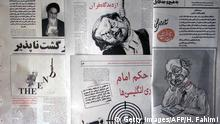 Drawings depicting British author Salman Rushdie are all over the Tehran morning press 14 February 2000, one day after Iran's state organization for Islamic propaganda said that the fatwa issued in 1989 by the late Iranian spiritual leader Ayatollah Ruhollah Khomeini against the author of The Satanic Verses was still in force and that Muslims must help carry it out. (ELECTRONIC IMAGE) (Photo credit should read HENGHAMEH FAHIMI/AFP/Getty Images)