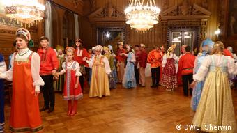 CIEE alumni line up to dance at a Russian-themed costume ball at Vladimir Palace in St. Petersburg