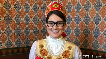 Rachel Neale poses in her costume at CIEE Russian-themed ball at Vladimir Palace in St. Petersburg