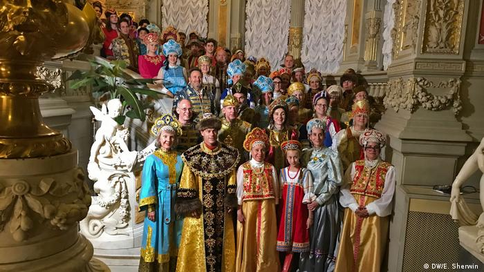 CIEE alumni pose at the Russian-themed ball at Vladimir Palace in St. Petersburg