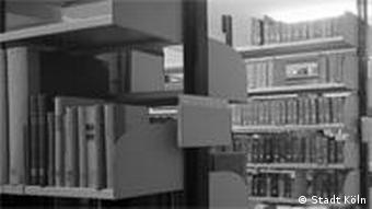 Historic photograph of shelves in the Cologne city archives
