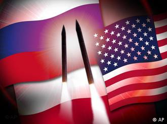 The US and Russian flags, with two missiles in the foreground