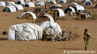 A refugee camp for people dispalced by the conflict in Darfur.