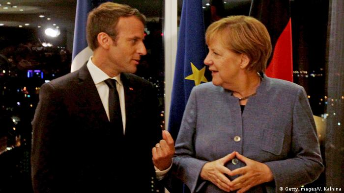 Estland Tallinn EU-Gipfel Digital Summit Macron und Merkel (Getty Images/V. Kalnina)