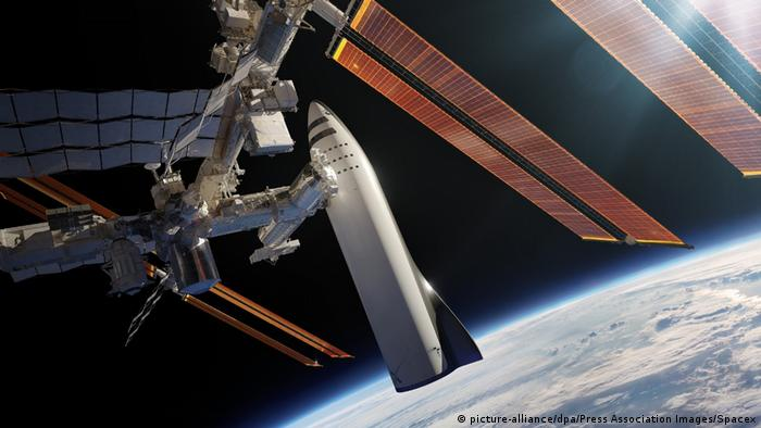 SpaceX huge Rocked, docked as a space station.