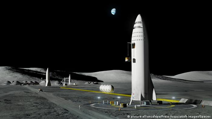 Simulação de um eventual lançamento para Marte, a partir da Lua, pela companhia espacial SpaceX