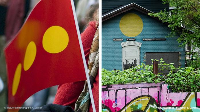 Collage: Die Flagge von Christiania und ein Haus in Christiania (Foto: picture alliance)
