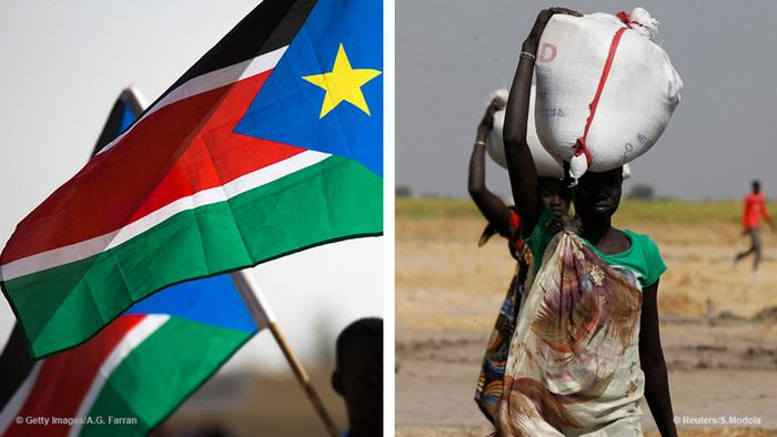 Flag of South Sudan and woman carrying large bags on her head (Foto: Reuters / Getty Images)