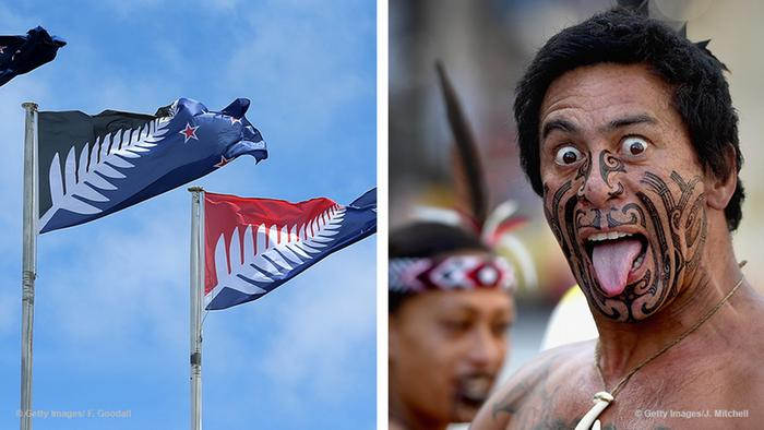 New Zealand flags and a Maori man (Foto: Getty Images)