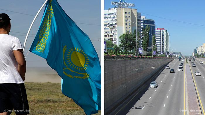 Flag of Kazakhstan and a street in Kazakhstan (Foto: Getty Images)