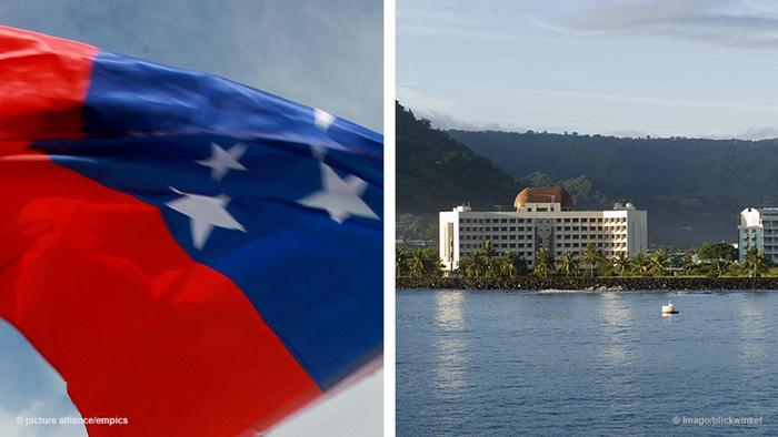 Flag of Samoa and a view of the coast (Foto: picture-alliance)