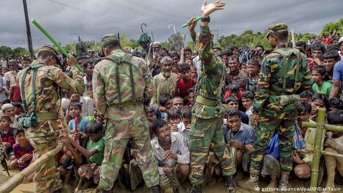 Bangladesh soldiers near a refugee camp