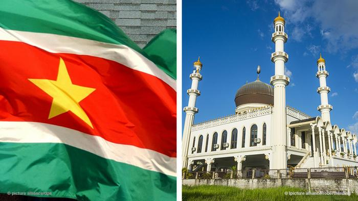 Suriname flag and the Suriname City Mosque (Foto: picture-alliance)