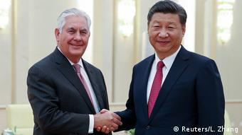 China Rex Tillerson trifft chinesischen Präsidenten Xi Jinping (Reuters/L. Zhang)