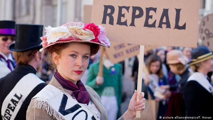 Demonstrators at the March for Choice in Dublin on September 30, 2017