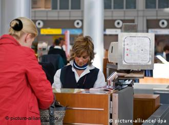 Passenger at an aiport check-in counter