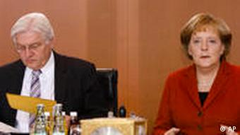Steinmeier and Merkel during a session in the Bundestag