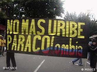 Columbians protest alleged ties between the president and paramilitaries in Bogota in 2008.