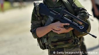 Frankreich Soldat der Einheit Sentinelle