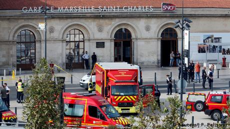 Emergency vehicle outside the Marseille train station (Reuters/J.P. Pelissier)