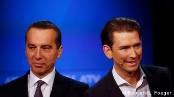 Себастиан Курц и Кристиан Керн во время теледебатов