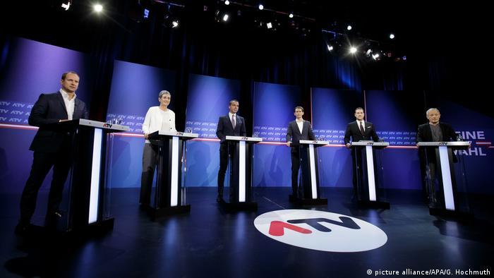 Österreich Wahlen TV-Debatte mit Kern, Kurz und Strache