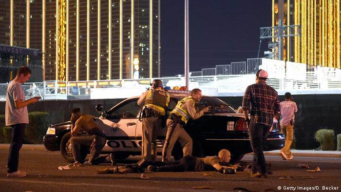 Las Vegas police stand guard