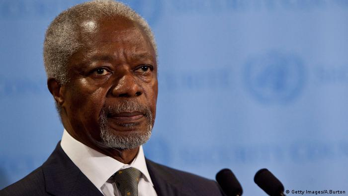 Kofi Annan speaks during a 2012 press conference on Syria (Getty Images/A.Burton)