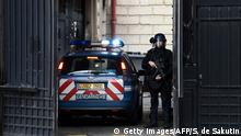 Gendarmarie officer outside a Paris court house
