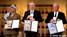 Friedensnobelpreisträger, Jassir Arafat, Yitzhak Rabin und Schimon Peres