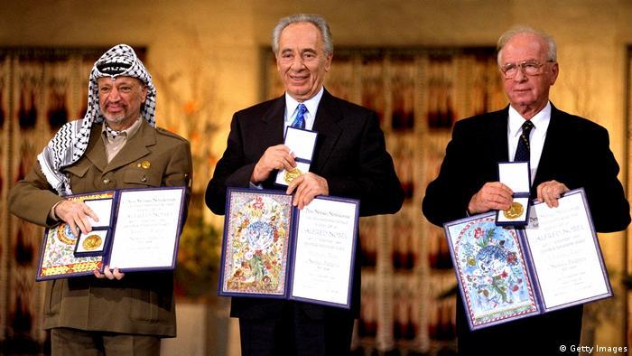Friedensnobelpreisträger, Jassir Arafat, Yitzhak Rabin und Schimon Peres (Getty Images)
