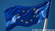 The European Union flag waves in the breeze