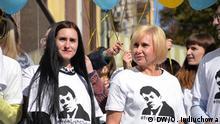Frau Suschtschenko mit ihren Mitstreitern bei einer Kundgebung in Kiew. Foto: Olexandra Indiuchowa, DW.