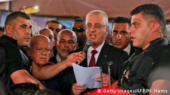 Rami Hamdallah speaks to crowd in Gaza.