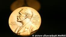 ARCHIV- Eine Medaille mit dem Konterfei von Alfred Nobel ist am 08.12.2007 im Nobel Museum in der Altstadt von Stockholm zu sehen. (zu dpa «Gerüchte um die Nobelpreise - und was richtig ist» vom 01.10.2017) Foto: Kay Nietfeld/dpa +++(c) dpa - Bildfunk+++ | Verwendung weltweit